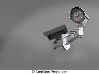 parete, illustrazione, macchina fotografica sorveglianza, bianco, 3d