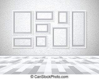 parete, immagine, bianco, interno, cornici