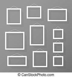parete, immagine, set, cornici, vuoto