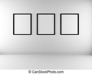 parete, immagine, tre, cornici, vuoto