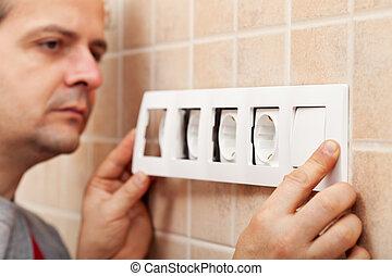 parete, infisso, finito, elettricista, installare