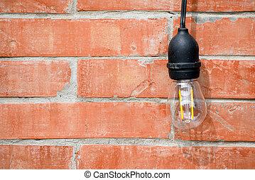 parete, interno, lampada, disegno, mattone