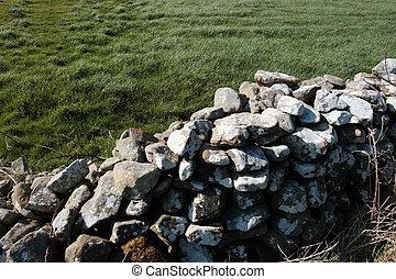 parete, irlandese, vecchio, pietra