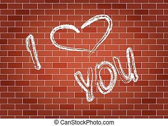 parete, iscrizione, lei, amore