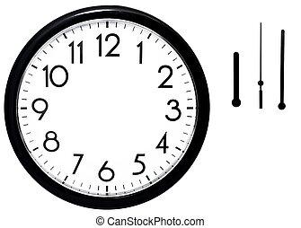 parete, isolato, clock., fondo., nero, bianco