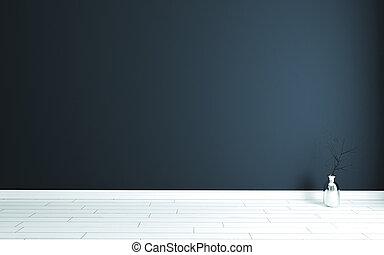 parete legno, blu, bianco, stanza scura, vuoto, moderno, pavimento