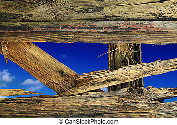 parete legno, buco