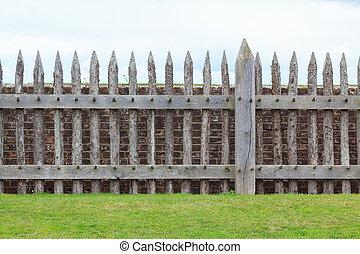 parete legno, mattone, recinto, fronte