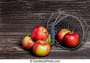 parete, legno, mele, fronte
