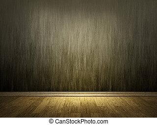 parete, legno, pavimento cemento