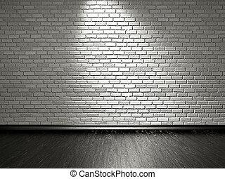 parete, legno, pavimento mattone