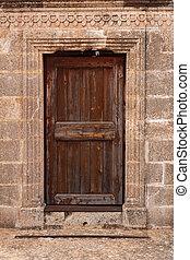 parete legno, pietra, antico, porta