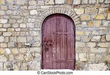 parete legno, pietra, porta