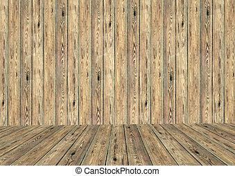 parete legno, stanza, vuoto, pavimento