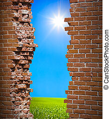 parete, libertà, concetto, breaken