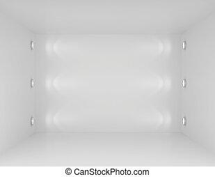 parete, lights., interpretazione, interno, galleria, vuoto, 3d