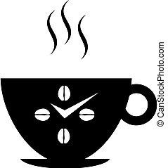 parete, logotipo, caffè, o, orologio