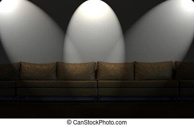 parete, luci, bianco, divano