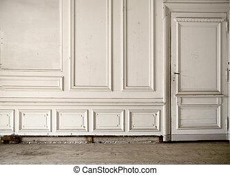 parete, luminoso, antico, stanza, bianco