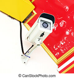 parete, macchina fotografica sicurezza, sorveglianza