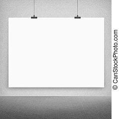 parete, manifesto, bianco