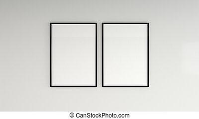parete, manifesto, cornice, nero, vuoto, bianco