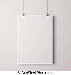 parete, manifesto, cornice, vuoto, bianco, 3d