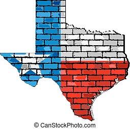 parete, mappa, mattone, texas