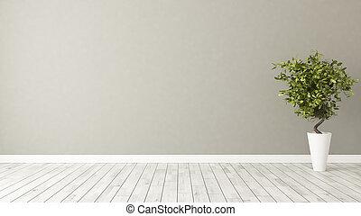 parete, marrone, pianta, stanza, vuoto