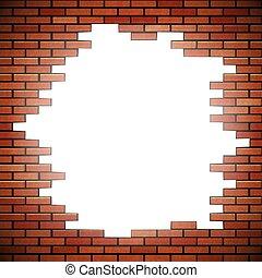 parete, mattone bianco, buco, rosso
