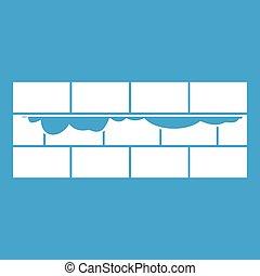 parete, mattone, bianco, icona