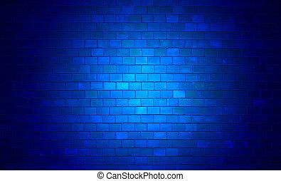 parete, mattone, blu