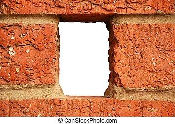 parete, mattone, buco