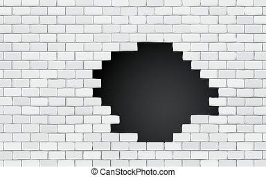 parete, mattone, buco nero