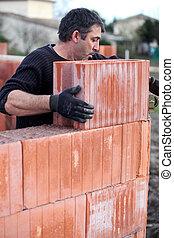 parete, mattone, collocazione, incompiuto, muratore