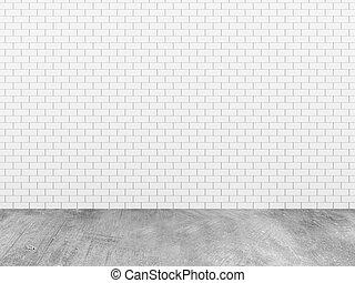 parete, mattone concreto, pavimento