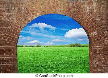 parete, mattone, finestra, aperto