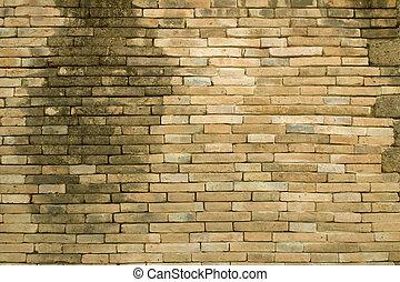 parete, mattone, fondo, vecchio