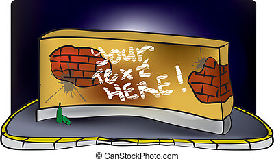 parete, mattone, graffito, sporco