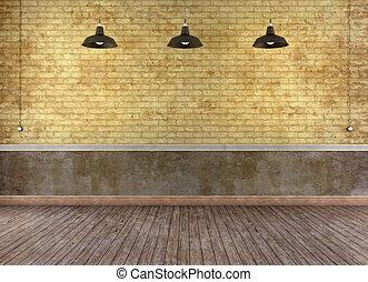parete, mattone, grunge, stanza, vuoto