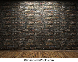parete, mattone, illuminato