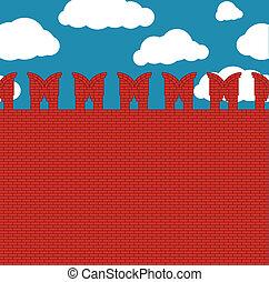 parete, mattone, rosso, feritoie