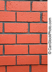 parete, mattone, rosso, struttura