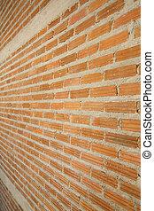 parete, mattone, sfondo rosso