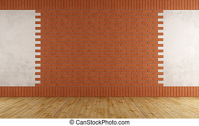 parete, mattone, stanza, vuoto