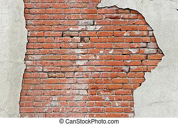 parete, mattone, strappato, fondo