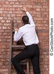 parete, mattone, su, contro, uomo