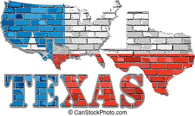 parete, mattone, texas