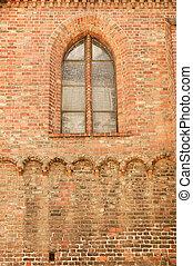 parete, mattone, vecchio, fondo, chiesa