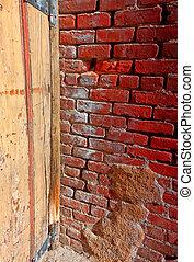parete, mattone, vecchio, rosso, fondale